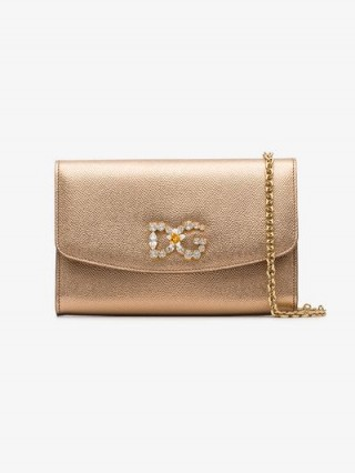 Dolce & Gabbana Gold Diamanté Logo Crossbody / luxe metallic flap bags