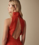 REISS DORI HIGH NECK OPEN BACK JUMPSUIT RED ~ chic jumpsuits