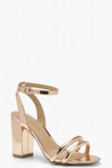 boohoo Ankle Wrap Strap Heels in Rose Gold | strappy metallic party shoes