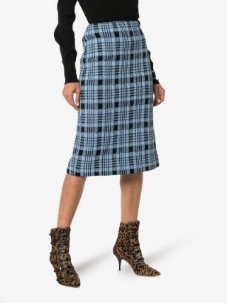 Dries Van Noten Blue and Black Check Knitted Pencil Skirt