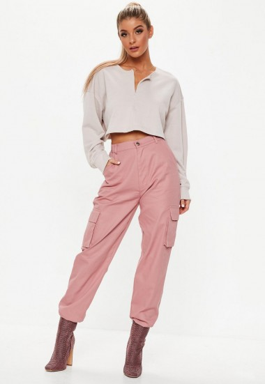 Missguided dusky pink plain cargo trousers | casual cuffed pants