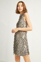 FRENCH CONNECTION EDDA SPARKLE TEAR DROP BODYCON DRESS in Silver | retro metallic party frock