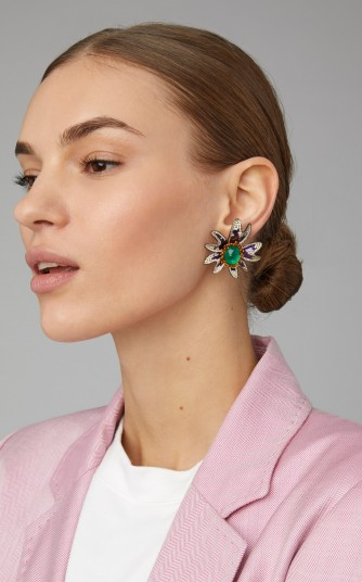 Saboo Elemanto 18K White Gold, Emerald, And Diamond Floral Earrings / gemstone flower design jewellery