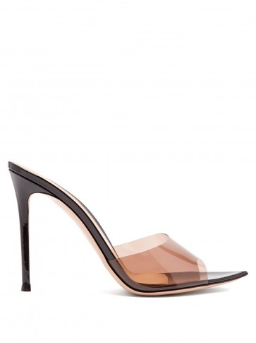 GIANVITO ROSSI Elle 105 black patent-leather and PVC mules