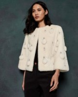TED BAKER BILLIEE Embellished cropped faux fur jacket in ivory / luxe evening jackets