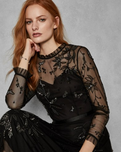 TED BAKER VELLO Embellished tulle midi dress in black / sequined butterflies and flowers