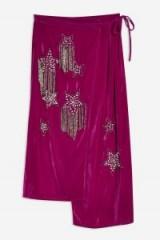 Topshop Embellished Velvet Midi Skirt in Magenta   rich winter colours