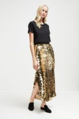 FRENCH CONNECTION EMILIA SEQUIN JERSEY MIDI SKIRT in Black/Antique Gold | shimmering party skirts