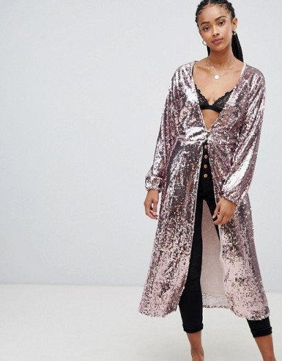 Emory Park maxi top in sequin in blush – pink longline tops