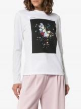 Erdem Fernley Printed Long Sleeved T-Shirt in White / floral printed tee