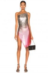 FANNIE SCHIAVONI for FWRD Lola Dress in SILVER and PINK | semi sheer metallic party dresses