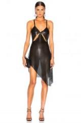 FANNIE SCHIAVONI Metal Mesh Dress in Black   semi sheer party dresses   asymmetric hemline