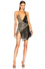 FANNIE SCHIAVONI Metal Mesh Dress in Silver and Black | party glamour
