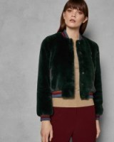 TED BAKER AETHER Faux fur bomber jacket in dark green / casual luxe