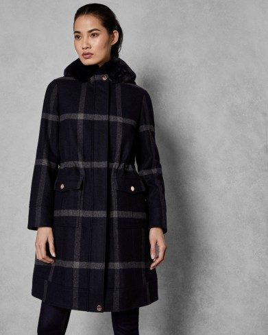 TED BAKER OHNA Faux fur hood checked wool parka in dark blue / large check print coats