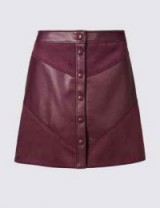 M&S COLLECTION Faux Leather A-Line Mini Skirt in Burgundy