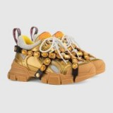 GUCCI Flashtrek Gold leather sneaker with crystals ~ chunky metallic sneakers