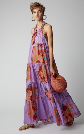 Yvonne S Floral-Print Cotton Voile Sleeveless Maxi Dress in Purple