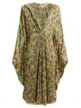 VETEMENTS Green floral-print pleated dress