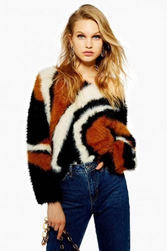 Topshop Fluffy Jumper   retro pattern sweater