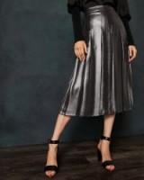 TED BAKER LAURRAA Foil pleated midi skirt in charcoal / metallic pleats