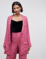 For Love & Lemons Lara smoking jacket in paisley in dusty rose – luxe pink jackets