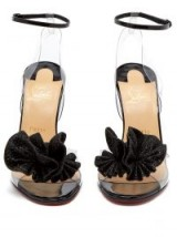 CHRISTIAN LOUBOUTIN Fossiliza 100 black patent leather and clear PVC pompom sandals