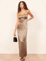 Reformation Frankie Dress in Steel | strappy luxe style maxi