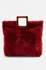 Topshop Freddy Square Faux Fur Tote Bag in Red   fluffy winter handbag