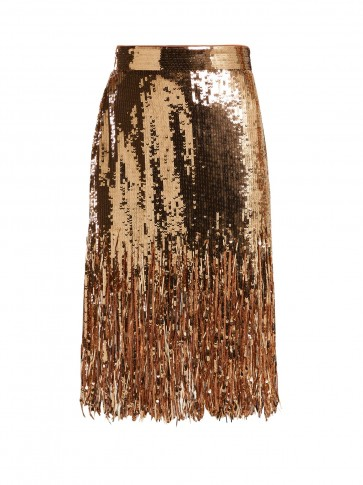 MSGM Fringed gold sequinned skirt – metallic party wear
