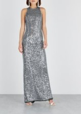 GALVAN Column blue sequin gown ~ slim silhouette metallic event dress