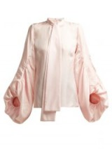 ANDREW GN Gathered pink balloon-sleeve silk blouse
