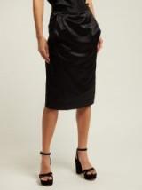 VIVIENNE WESTWOOD ANGLOMANIA Gathered black satin pencil skirt