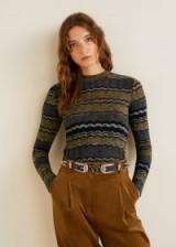 MANGO Geometric knit sweater in beige – MOOD