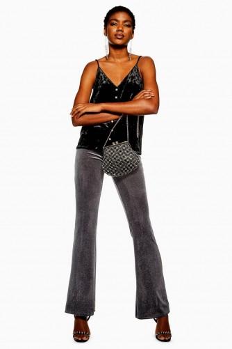 Topshop Glitter Velvet Flare Trousers in Grey   glittering party flares