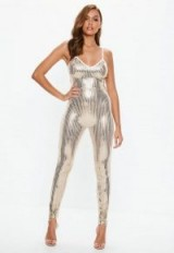 MISSGUIDED gold cami sequin jumpsuit – glamorous strappy jumpsuits – party glamour