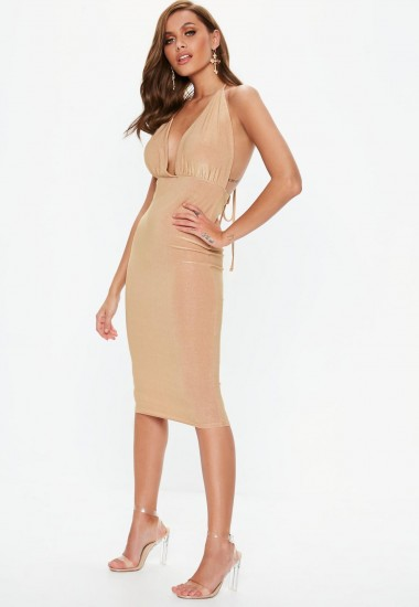 MISSGUIDED gold glitter wrap midi dress – glamorous plunge front party wear