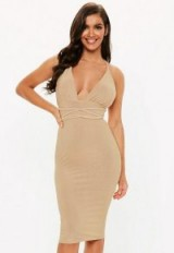 9a963bb890 MISSGUIDED gold glitter wrap midi dress – party glamour