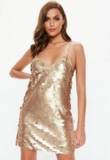 MISSGUIDED gold matte disk sequin cami shift dress – strappy metallic party slip