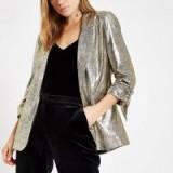 RIVER ISLAND Gold metallic ruched sleeve blazer – glamorous party jackets