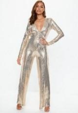 MISSGUIDED gold plunge sequin jumpsuit – shiny open back jumpsuits