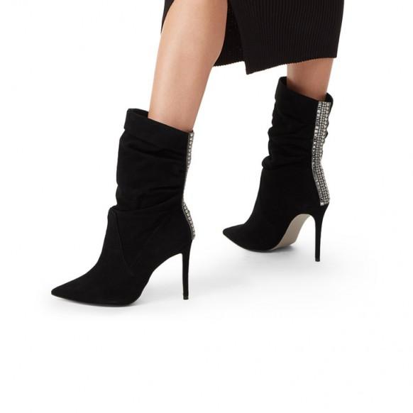 CARVELA GRAND Black Suede Stiletto Heel Calf Boots – embellished gathered boot