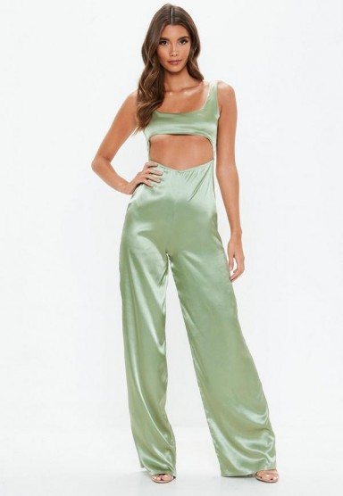 MISSGUIDED green cut out satin jumpsuit – glamorous going out fashion