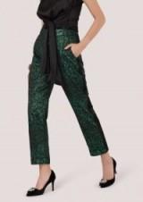 Closet Green Jacquard Slim Leg Trouser With Satin Side Stripe – metallic style partywear