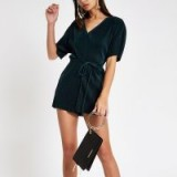 RIVER ISLAND Green plisse tie waist batwing playsuit | party glamour