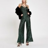 RIVER ISLAND Green sequin cami strap jumpsuit – glittering partywear