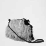 RIVER ISLAND Grey leather Mongolian fur cross body bag / shaggy bags