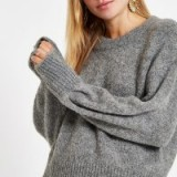 River Island Grey luxe crew neck knit jumper