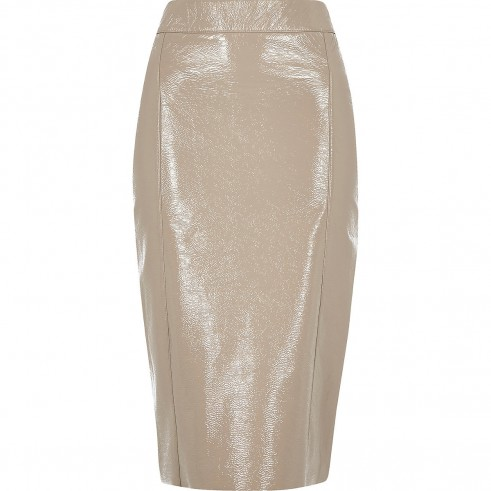 RIVER ISLAND Grey vinyl split hem pencil skirt / high shine skirts