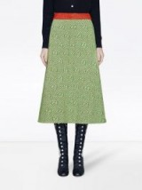 GUCCI GG stripe green wool A-line skirt | retro fashion | 70s vintage style clothing